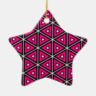 Ornamento De Cerâmica Triângulos do rosa quente