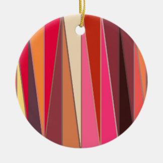 Ornamento De Cerâmica Triângulos, fúcsia e Brown modernos do meio século