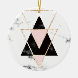 Ornamento De Cerâmica Triângulos, ouro, preto, rosa, mármores, colagem,