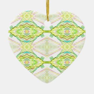Ornamento De Cerâmica Tribal Pastel do limão brilhante vibrante do limão