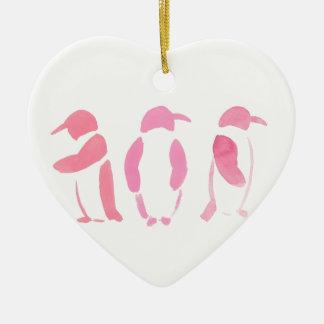 Ornamento De Cerâmica Trio cor-de-rosa do pinguim