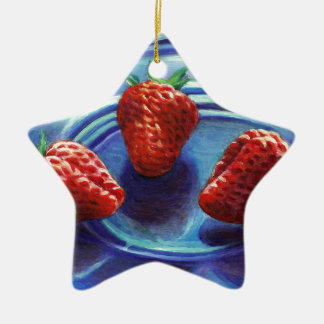 Ornamento De Cerâmica Trio da morango