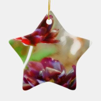 Ornamento De Cerâmica Trio de florescência da tulipa da peônia escura do
