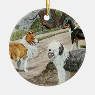 Ornamento De Cerâmica Trio do cão do vintage
