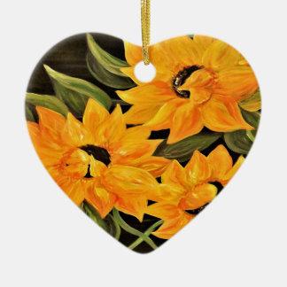 Ornamento De Cerâmica Trio do girassol