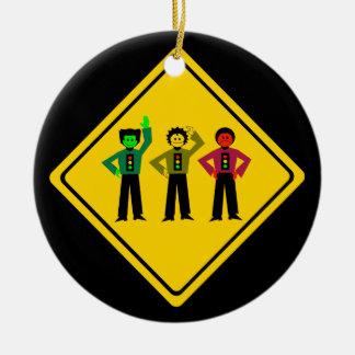 Ornamento De Cerâmica Trio temperamental do sinal de trânsito adiante