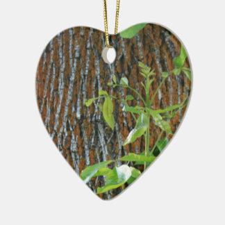 Ornamento De Cerâmica Tronco com folha