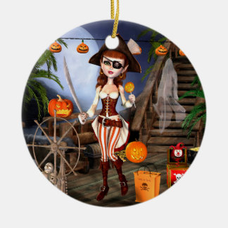 Ornamento De Cerâmica Truque da menina do pirata do Dia das Bruxas ou