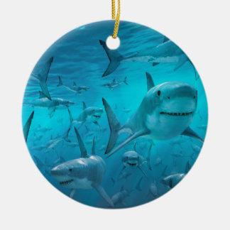 Ornamento De Cerâmica Tubarões