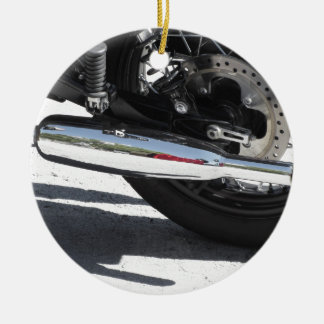 Ornamento De Cerâmica Tubulação de exaustão cromada motocicleta. Vista