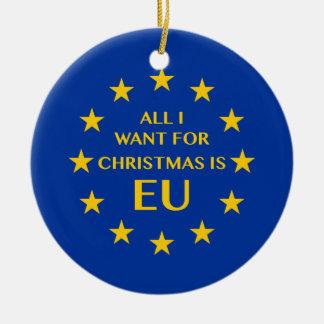 Ornamento De Cerâmica Tudo que eu quero para o Natal é UE