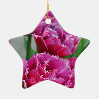 Ornamento De Cerâmica Tulipas cor-de-rosa do papagaio