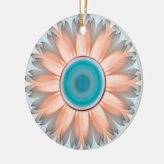Ornamento De Cerâmica Turquesa limpa e pura e flor branca do Fractal