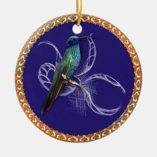 Ornamento De Cerâmica Turquesa verde e azul com colibri roxo