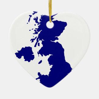 Ornamento De Cerâmica U.K. e silhueta de Irlanda do Norte