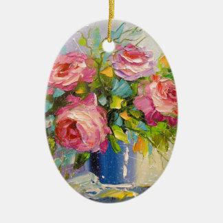 Ornamento De Cerâmica Um buquê dos rosas