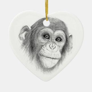Ornamento De Cerâmica Um chimpanzé, não monkeying ao redor o esboço