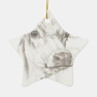 Ornamento De Cerâmica Um desenho de uma vaca nova