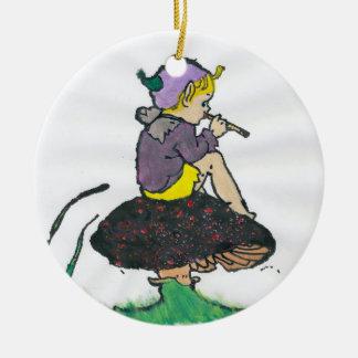 Ornamento De Cerâmica ~ um ~ do Fractal do duende do Natal