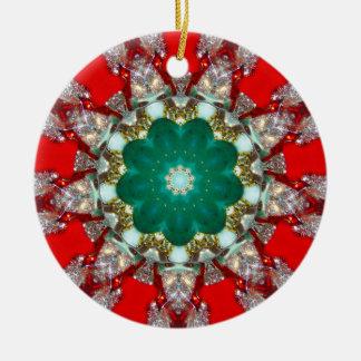 Ornamento De Cerâmica Um Fractal Sparkling do Natal