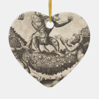 Ornamento De Cerâmica Um macaco que guardara um putto encadernado que