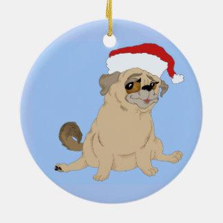 Ornamento De Cerâmica Um Natal alegre do Pug