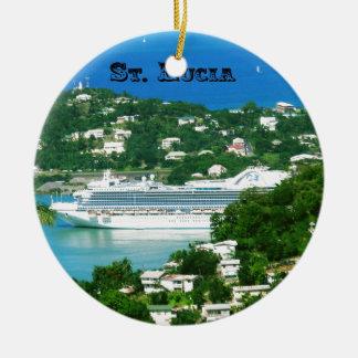 Ornamento De Cerâmica Um navio de cruzeiros entrado em St Lucia