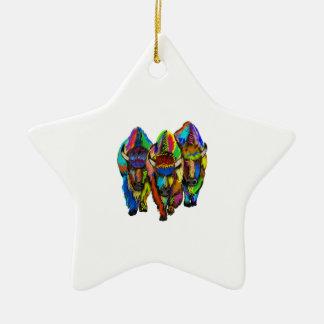 Ornamento De Cerâmica Um trio do bisonte