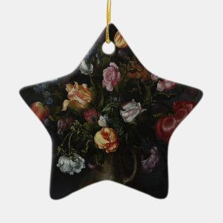 Ornamento De Cerâmica Um vaso com flores