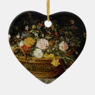 Ornamento De Cerâmica Uma cesta das flores - Jan Brueghel o mais novo