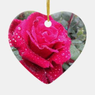 Ornamento De Cerâmica Única flor da rosa vermelha com gotas de água