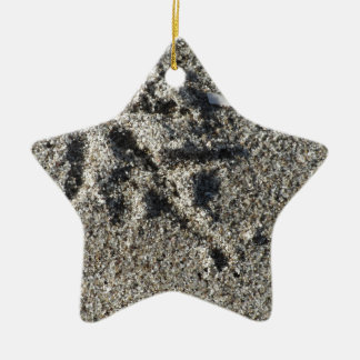Ornamento De Cerâmica Única pegada do pássaro da gaivota na areia da
