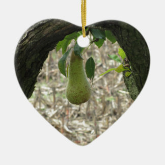 Ornamento De Cerâmica Única pera verde que pendura na árvore