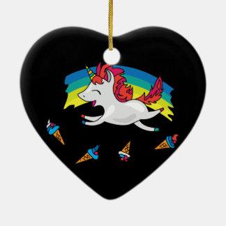 Ornamento De Cerâmica Unicórnio bonito com ilustração legal do arco-íris