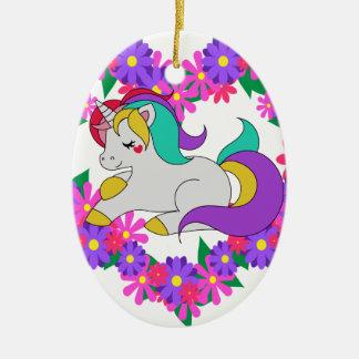 Ornamento De Cerâmica unicórnio bonito do arco-íris