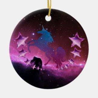 Ornamento De Cerâmica Unicórnio com estrelas