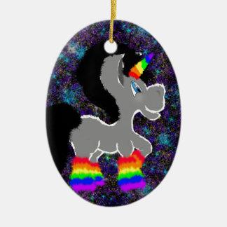 Ornamento De Cerâmica Unicórnio distorcido do espaço do arco-íris