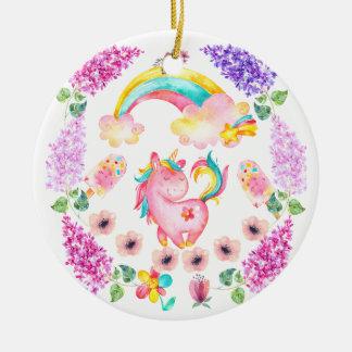 Ornamento De Cerâmica Unicórnio do bebê que joga em seus multi produtos