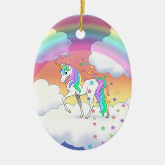 Ornamento De Cerâmica Unicórnio e estrelas coloridos do arco-íris
