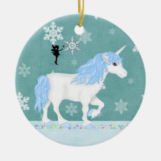 Ornamento De Cerâmica Unicórnio personalizado e fada azuis e brancos