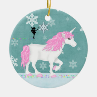 Ornamento De Cerâmica Unicórnio personalizado e fada cor-de-rosa e