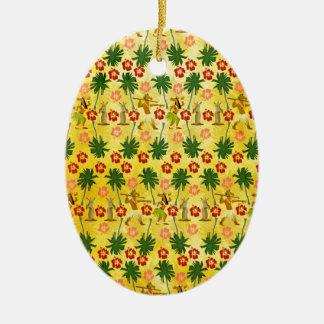Ornamento De Cerâmica Unicórnio tropical da ilha
