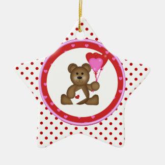 Ornamento De Cerâmica Urso bonito com os balões dos namorados e do