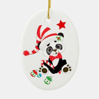 Ornamento De Cerâmica Urso de panda bonito personalizado