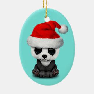 Ornamento De Cerâmica Urso de panda do bebê que veste um chapéu do papai