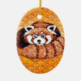 Ornamento De Cerâmica Urso de panda vermelha no Cubism alaranjado