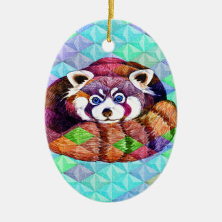 Ornamento De Cerâmica Urso de panda vermelha no cubism de turquesa
