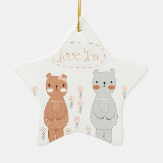 Ornamento De Cerâmica Urso de ursinho bonito do casal dos namorados dos