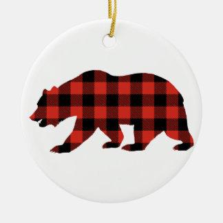 Ornamento De Cerâmica Urso do Tartan
