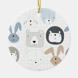 Ornamento De Cerâmica Urso, leão e coelho de ursinho animal bonito dos